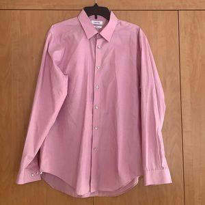 Calvin Klein Men's Slim Fit Button down pink shirt